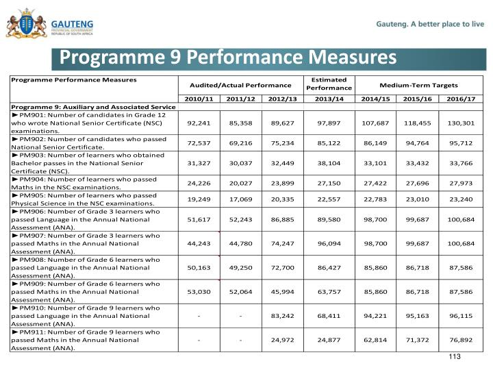 Programme 9 Performance Measures