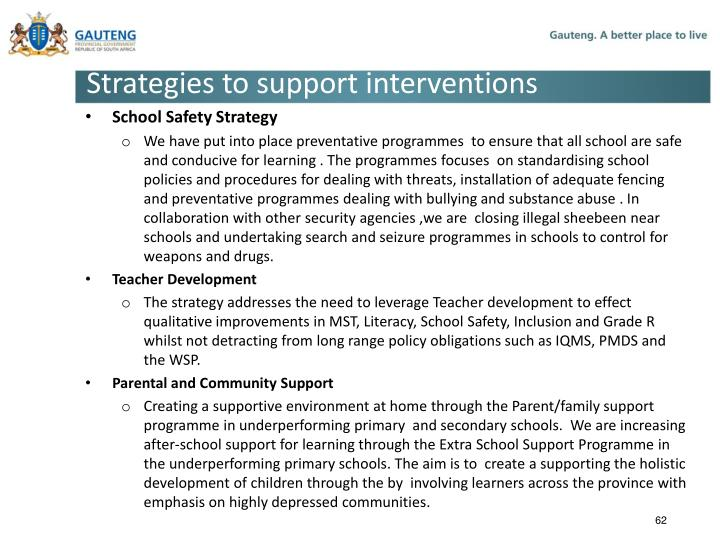 Strategies to support interventions