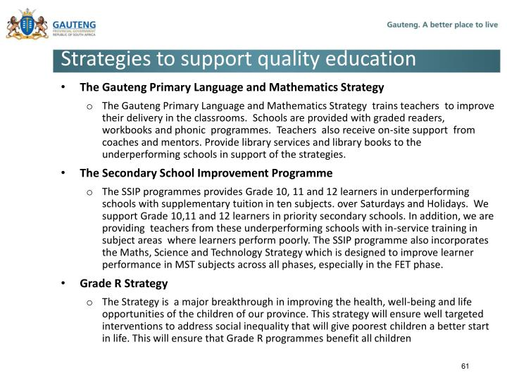 Strategies to support quality education