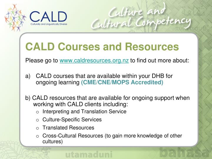 CALD Courses and Resources
