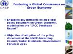 fostering a global consensus on green economy