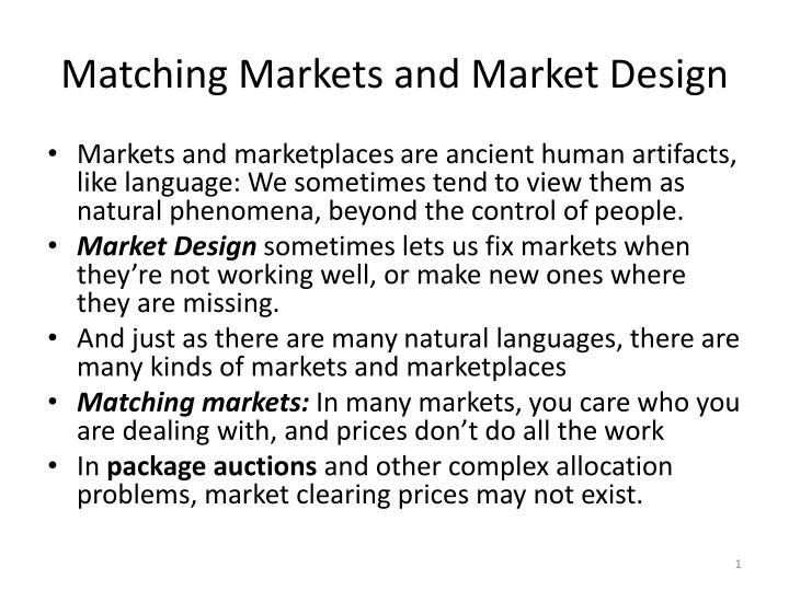 matching markets and market design n.