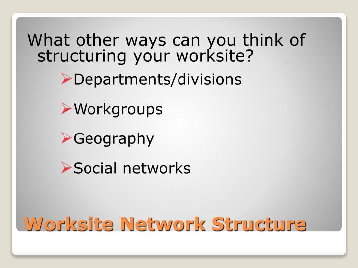 What other ways can you think of structuring your worksite?