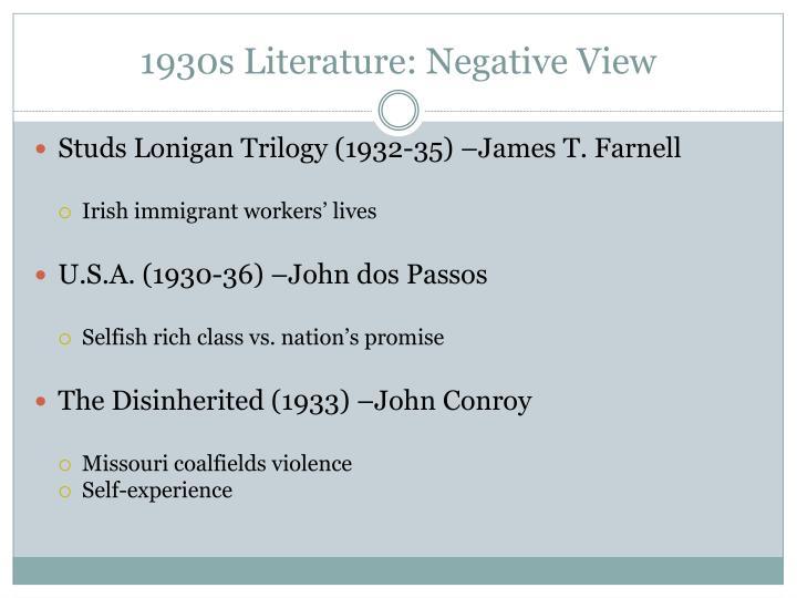 1930s Literature: Negative View