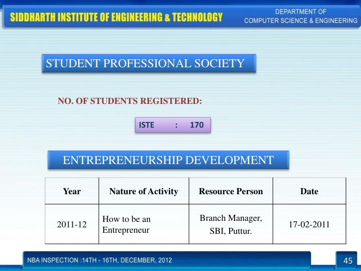 STUDENT PROFESSIONAL SOCIETY