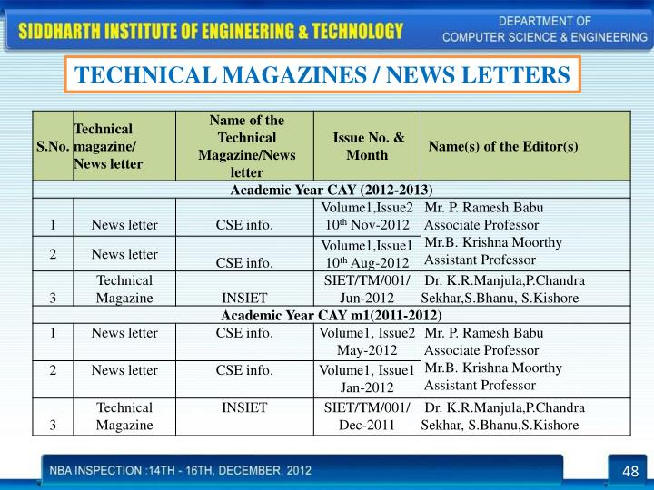 TECHNICAL MAGAZINES / NEWS LETTERS