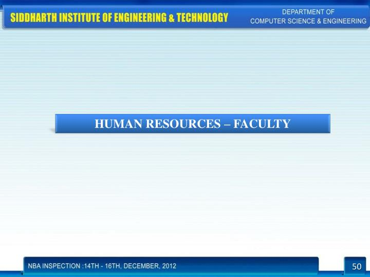 HUMAN RESOURCES – FACULTY