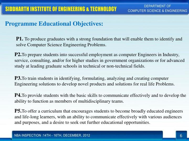 Programme Educational Objectives: