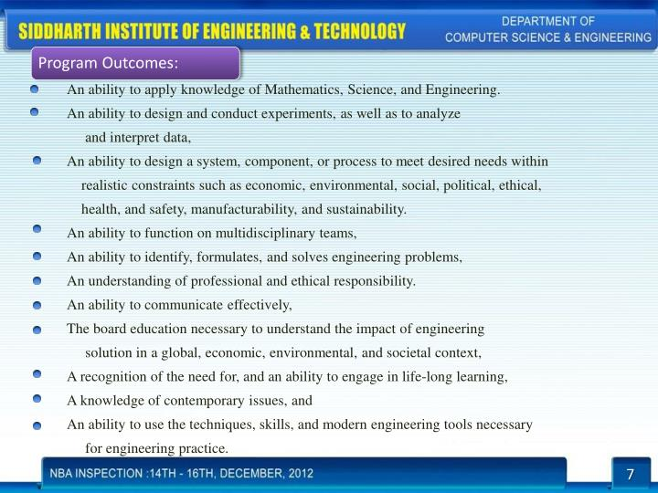 An ability to apply knowledge of Mathematics, Science, and Engineering.