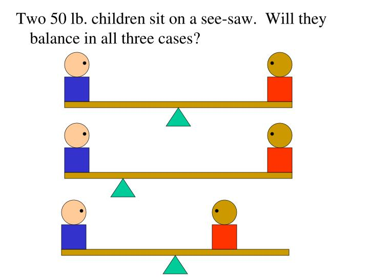 Two 50 lb. children sit on a see-saw.  Will they balance in all three cases?