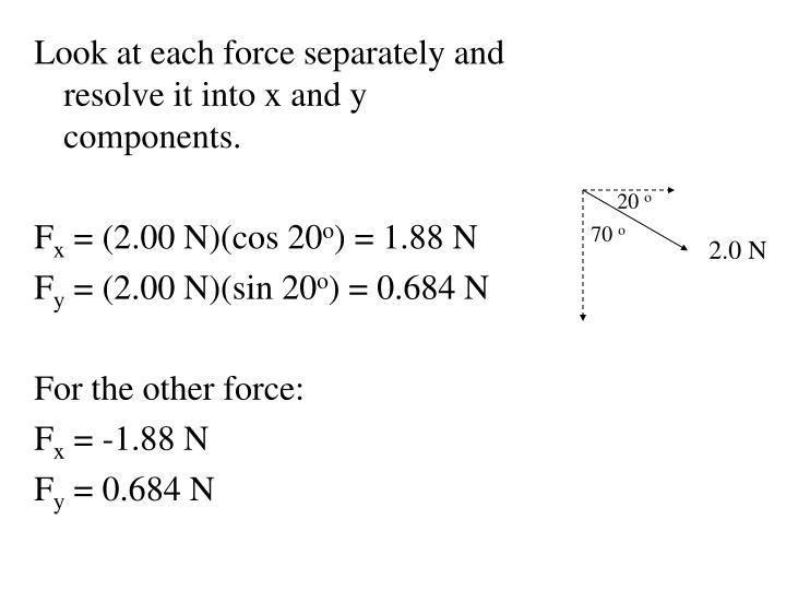 Look at each force separately and resolve it into x and y components.