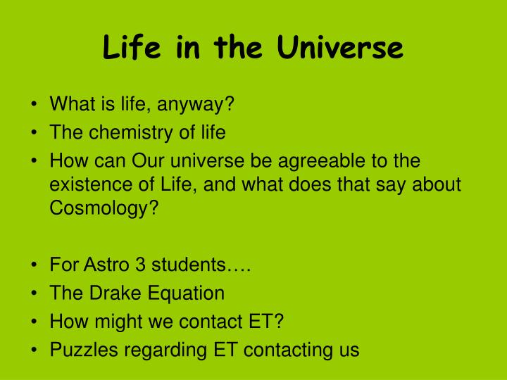 life in the universe n.