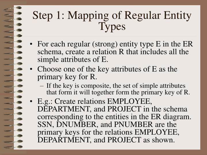 Step 1 mapping of regular entity types