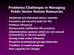 problems challenges in managing public sector human resources