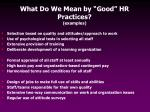 what do we mean by good hr practices examples