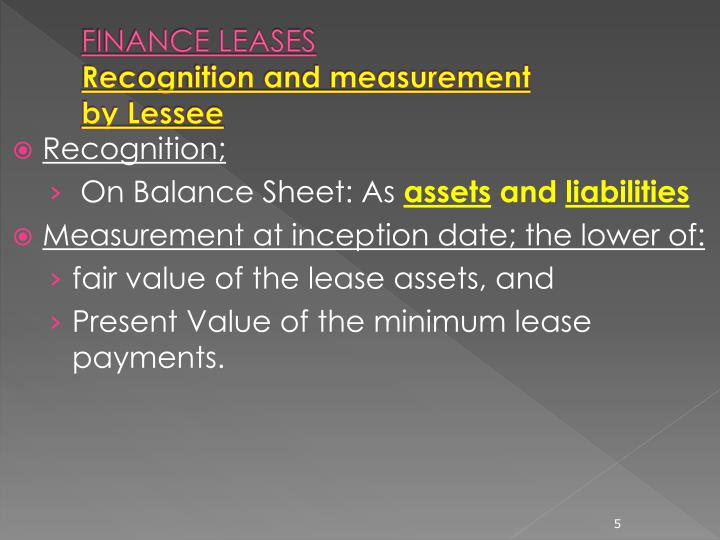 FINANCE LEASES