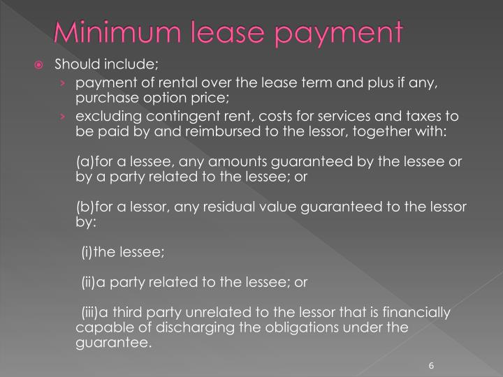 Minimum lease payment