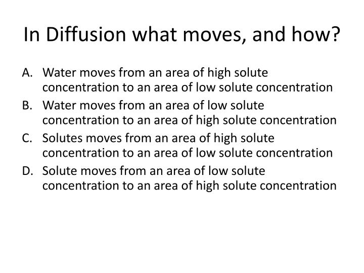 In Diffusion what moves, and how?