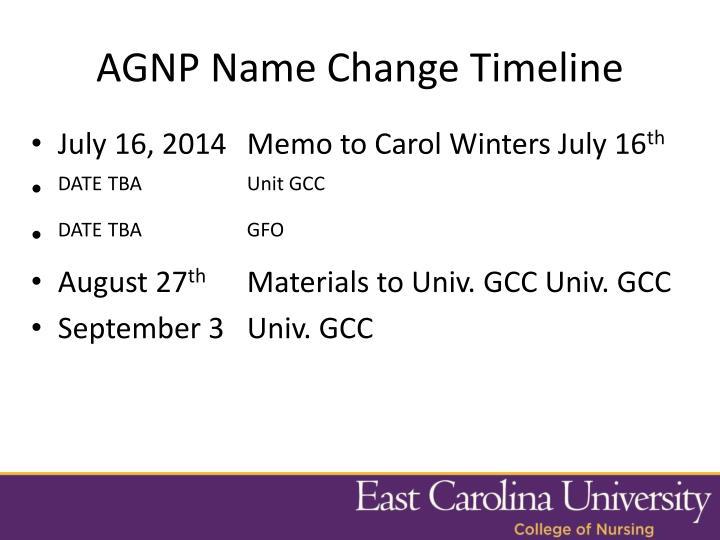 AGNP Name Change Timeline