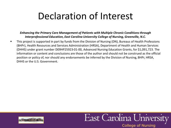 Declaration of Interest