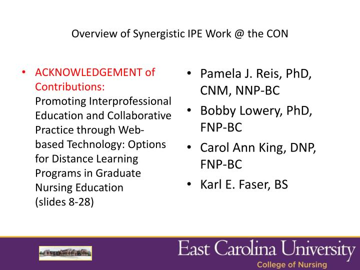 Overview of Synergistic IPE Work @ the CON