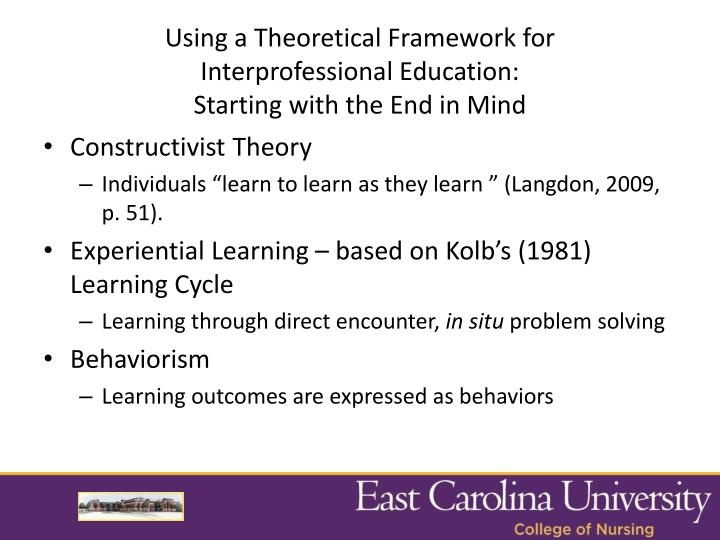 Using a Theoretical Framework for