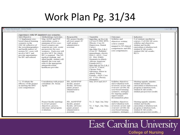 Work Plan Pg. 31/34