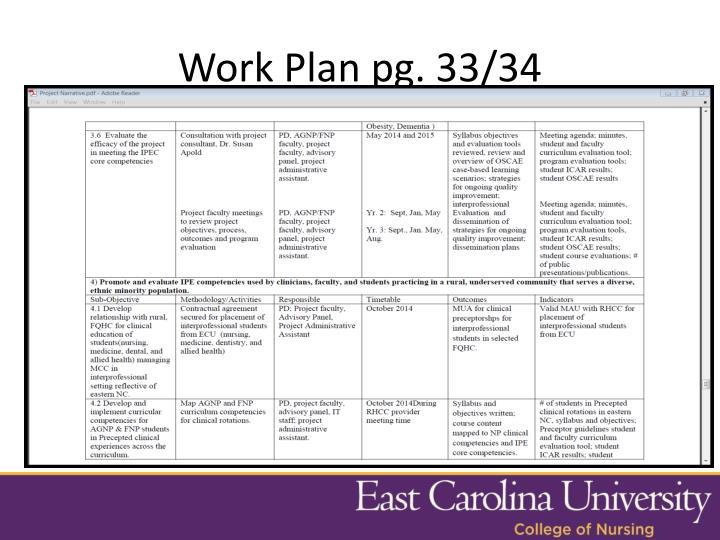 Work Plan pg. 33/34