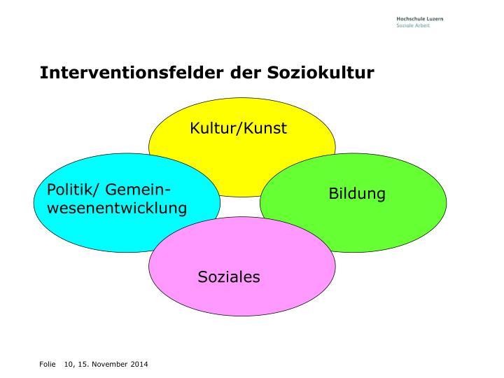 Interventionsfelder der Soziokultur