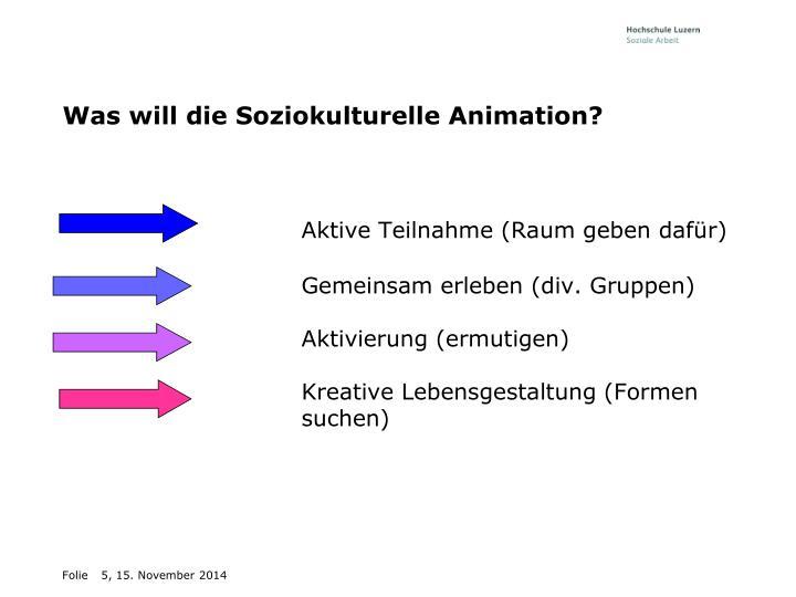Was will die Soziokulturelle Animation?