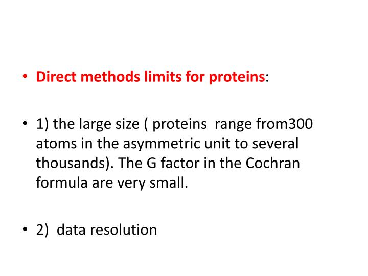 Direct methods limits for proteins