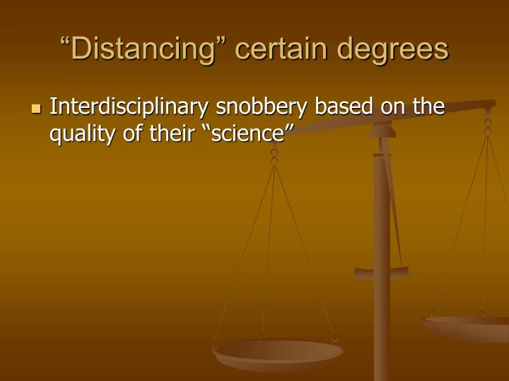"""Distancing"" certain degrees"