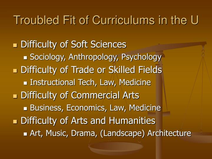 Troubled fit of curriculums in the u
