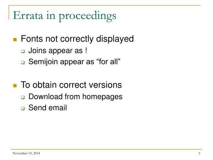 Errata in proceedings