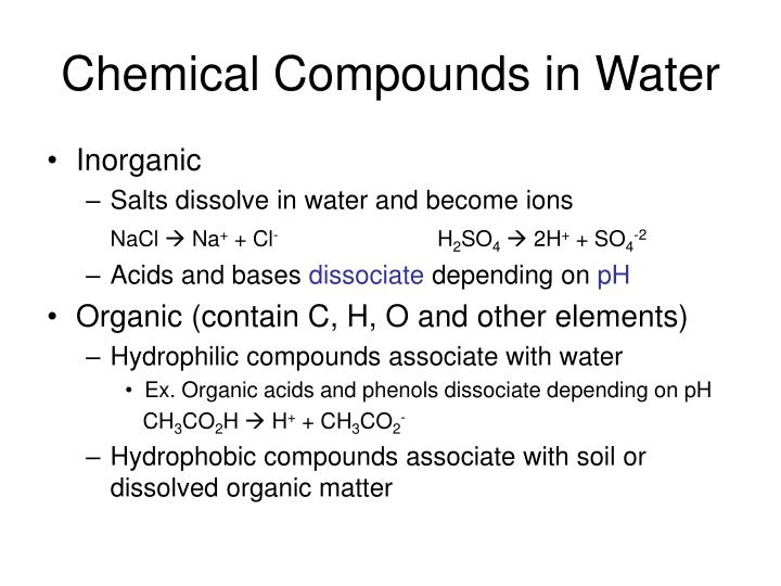 Chemical Compounds in Water