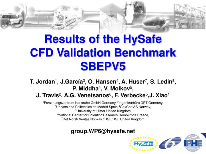 results of the hysafe cfd validation benchmark sbepv5 n.
