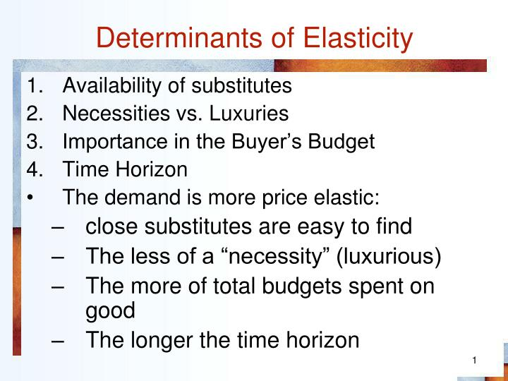 buoyancy and elasticity determinants of This module we will cover one of my favorite economics concepts: elasticity it is one of my favorites because of determinants of price elasticity of demand.