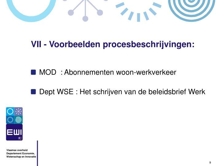 VII - Voorbeelden procesbeschrijvingen: