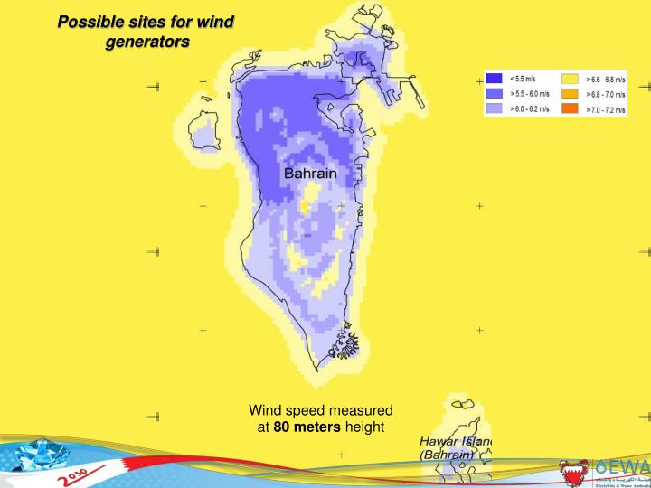 Possible sites for wind
