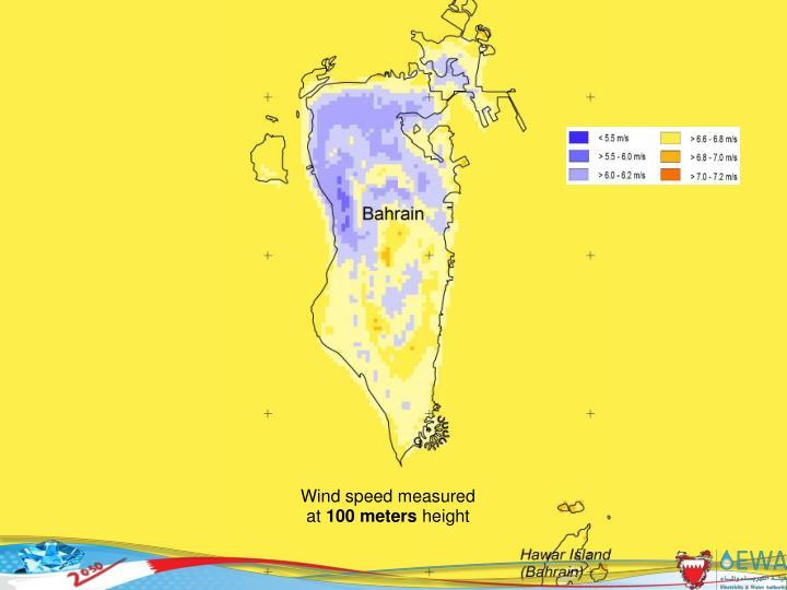 Wind speed measured at