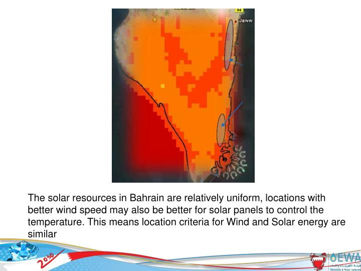 The solar resources in Bahrain are relatively uniform, locations with better wind speed may also be better for solar panels to control the temperature. This means location criteria for Wind and Solar energy are similar