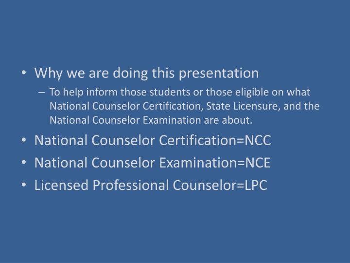 Ppt National Counselor Certification National Counselor