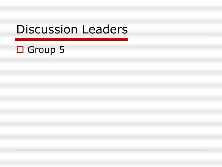 Discussion Leaders