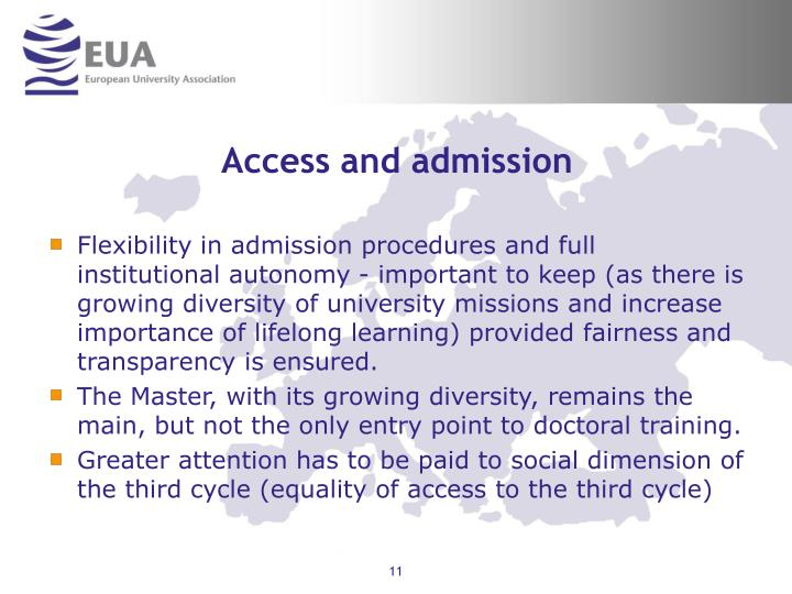 Access and admission