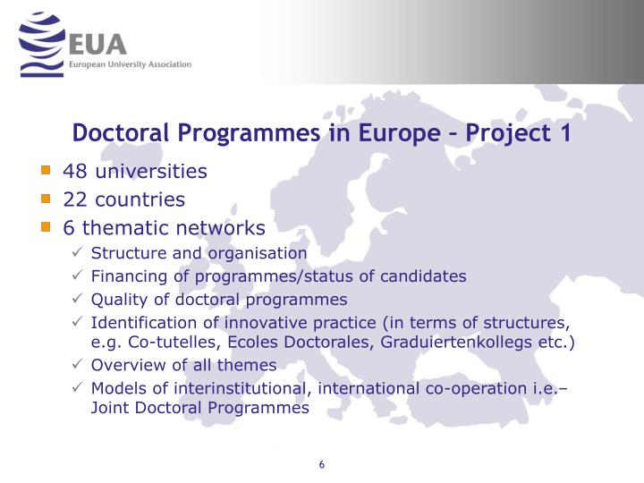 Doctoral Programmes in Europe – Project 1