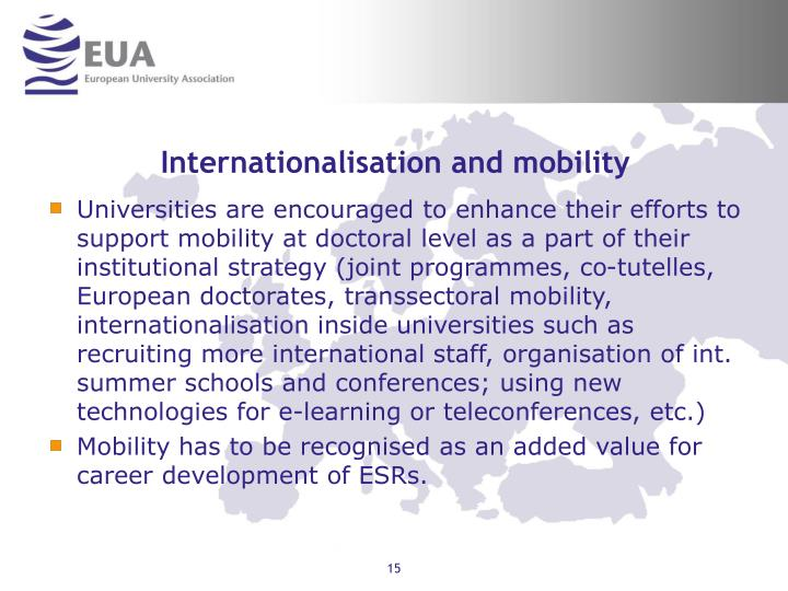 Internationalisation and mobility
