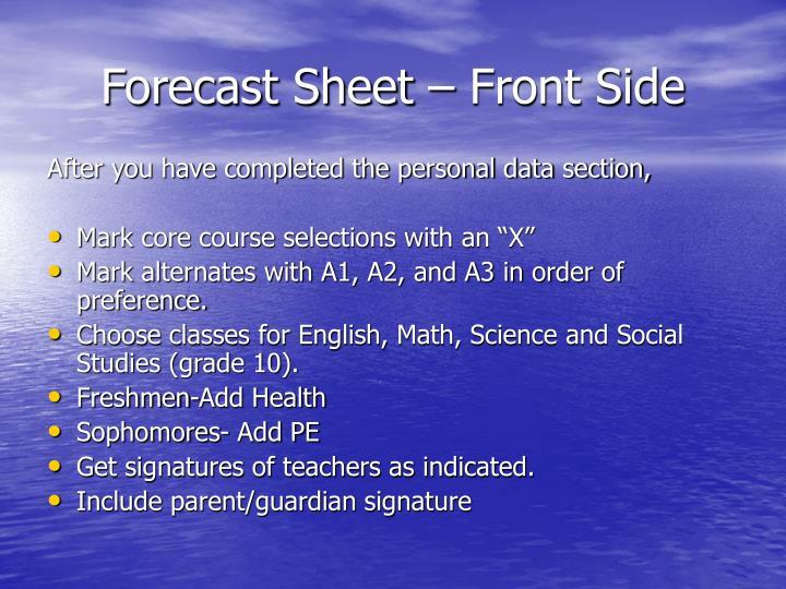 Forecast Sheet – Front Side