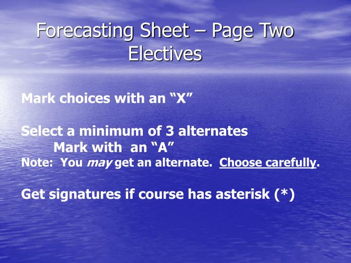 Forecasting Sheet – Page Two