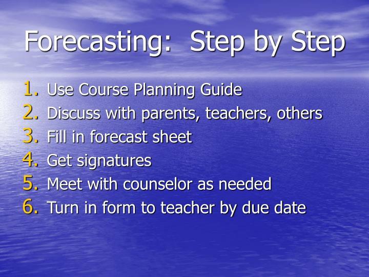 Forecasting step by step