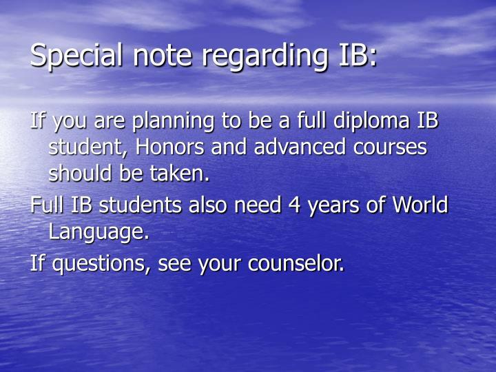 Special note regarding IB: